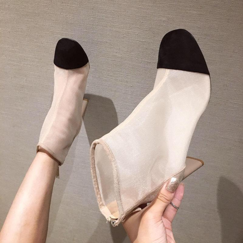 圆头高跟短靴法式网纱凉靴女绒面拼色后拉链欧美ins时尚女鞋靴子