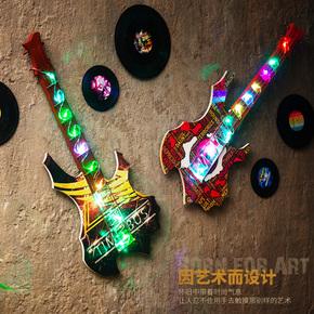 创意美式复古LED灯吉他壁挂墙面装饰品酒吧餐馆墙饰家居墙上挂件