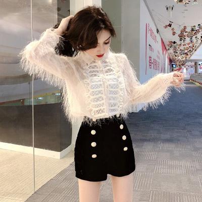 时尚套装女秋新款韩版复古气质翻领长袖流苏衬衣+双排扣丝绒短裤
