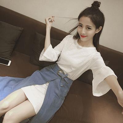夏天套装女潮小心机女韩版社会T恤连衣裙牛仔裙半身裙俏皮两件套