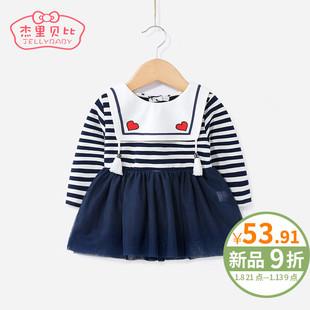 女童学院风连衣裙0-1婴儿公主裙春秋小儿童春装条纹6一岁宝宝裙子