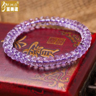富美达 紫水晶手链女 切面串珠时尚饰品手串生日礼物