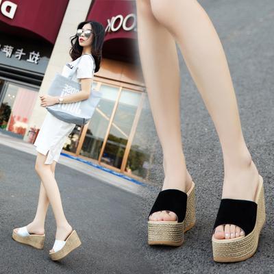 2018夏季新款韩版女士拖鞋防水台坡跟凉拖厚底高跟松糕底一字拖鞋