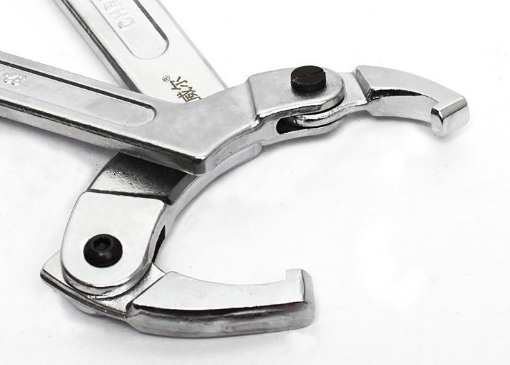 上新圆螺母可调节钩型活动活络扳手圆头勾型勾形勾头月牙扳手工具