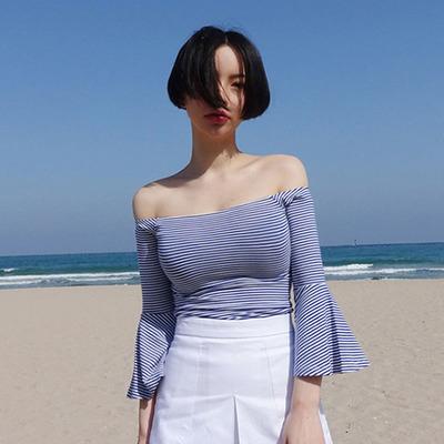 喇叭袖一字领露肩上衣夏韩范条纹t恤女短袖修身显瘦纯棉打底衫
