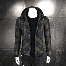 New winter cotton-padded men's jacket, trendy men's hooded checked trendy cotton-padded jacket, men's body-building and warmth-keeping jacket