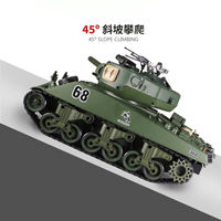 Sherman remote tank can be launched Children's military tank toy boy birthday gift electric model