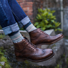 Summer Men's Handmade Boots British Block Sculptured Boots Shoes Men's Leather High Band Fashion Martin Boots Men's Shoes