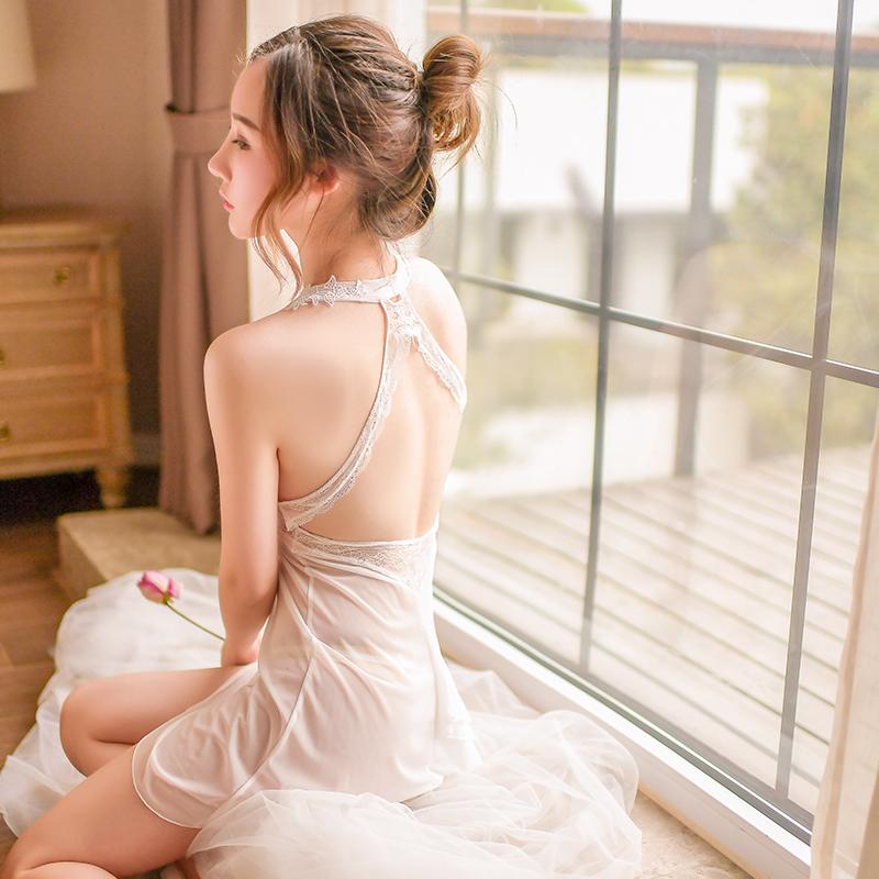 2018新款夏季性感情趣内衣连体公主裙白色性感吊带短裙装
