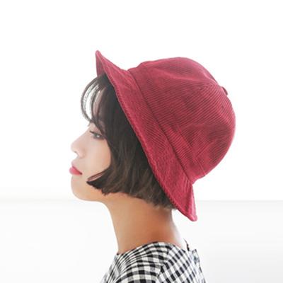 韩国百搭纯色灯芯绒盆帽男女士休闲遮阳帽渔夫帽子潮