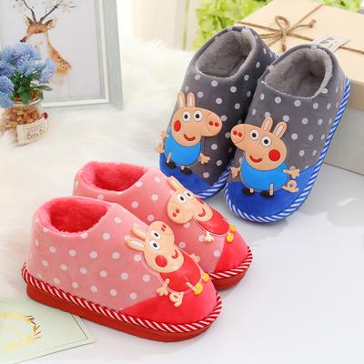 儿童棉拖鞋秋冬季男童女童宝宝可爱防滑保暖包跟室内亲子居家拖鞋