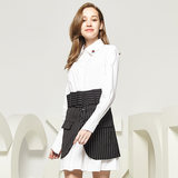 CCDD autumn new counters fashion personality long shirt + short skirt suit female straight jacket