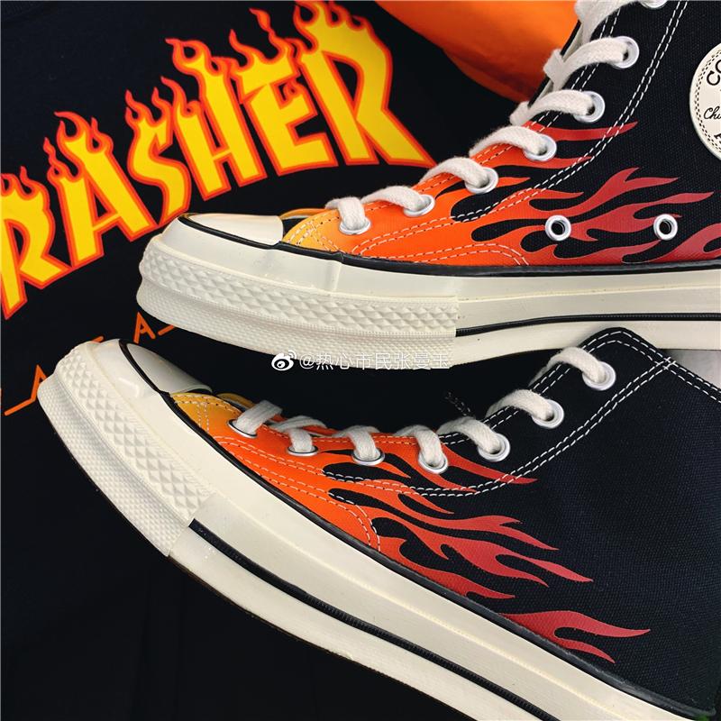 匡威Converse 1970s 三星标火焰高帮低帮情侣帆布鞋女男 165024C