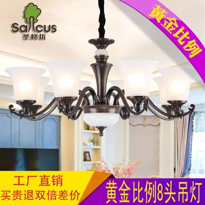 美式吊灯 全铜客厅灯 复古简约欧式卧室餐厅玉石8头纯铜玻璃灯具在哪买