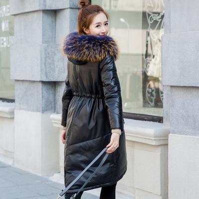 反季新款冬海宁真皮羽绒服皮衣加绒加厚女长款绵羊皮外套貉子毛领