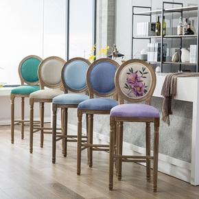 吧台椅美式复古做旧实木吧椅靠背loft欧式乡村咖啡厅酒吧椅高脚凳