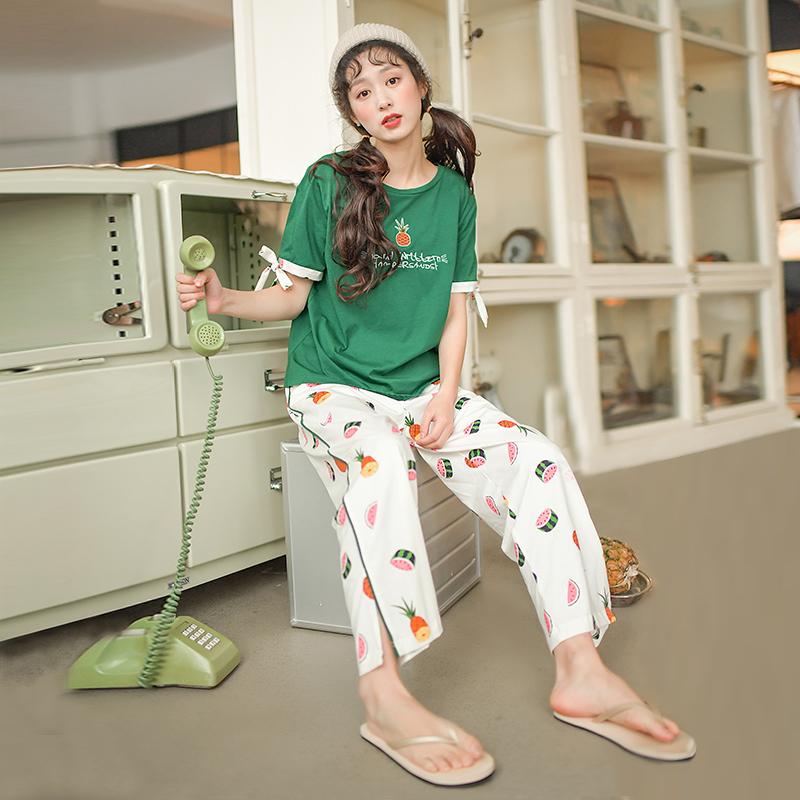 芬腾千线艺纯棉睡衣女夏卡通菠萝短袖长裤可爱少女家居服两件套装