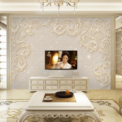 欧式浮雕电视背景墙壁纸5d立体装饰壁画简约现代大气客厅影视布8d