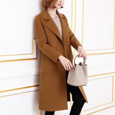 毛呢外套女中长款2018新款秋装韩版双面呢子大衣外套女冬零羊绒