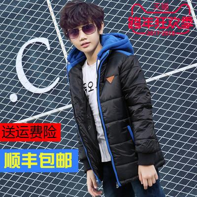 七波辉男童棉衣2017新款秋冬加厚青少年中大童保暖外套厚棉袄黑色