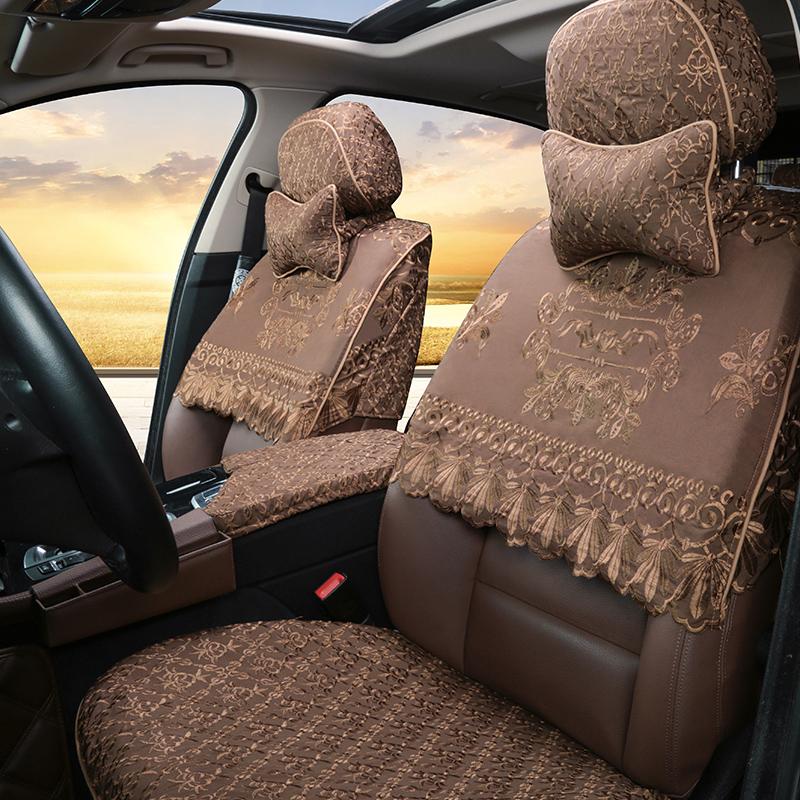 棉布汽车座套半截套 专车专用半包座椅套 四季通用蕾丝刺绣车坐垫