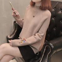 半高领刺绣套头毛衣女秋冬打底衫2017新款韩版纯色宽松加厚针织衫