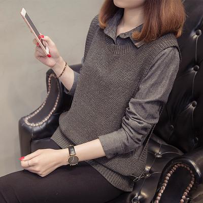 假两件上衣女秋装女2018新款韩版衬衫领拼接毛衣女秋冬短款打底衫