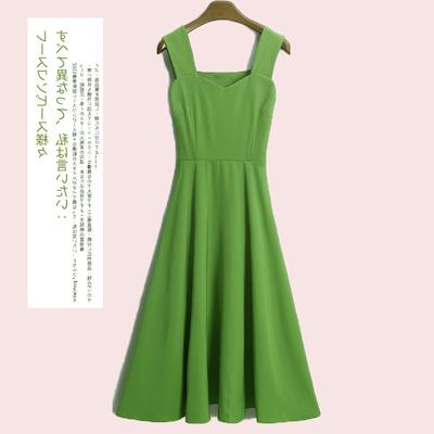 牛油果绿抹茶绿连衣裙两件套吊带裙森女收腰小个子仙气超仙小清新