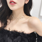 Pearl necklace Korea neckband neck chain choker collar neck chain net red neck jewelry short clavicle chain female
