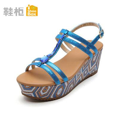达芙妮旗下鞋柜女鞋 夏新款高跟露趾凉鞋防水台松糕底坡跟鞋清仓