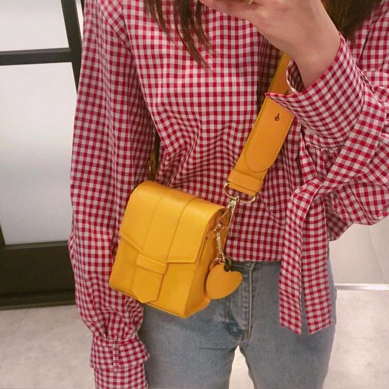 2017新款韩版简约百搭单肩斜挎小方包宽肩带链条小包包手机包女包