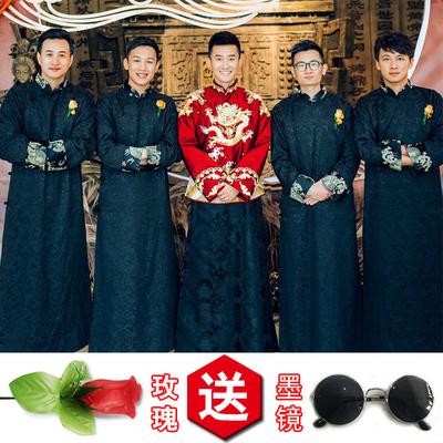 中式婚礼伴郎服唐装男士长衫结婚中国风兄弟伴郎团礼服马褂长袍