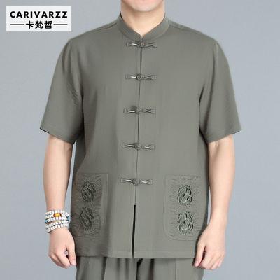 中国风男装夏季新款中老年唐装男短袖套装中式大码复古汉服爸爸装