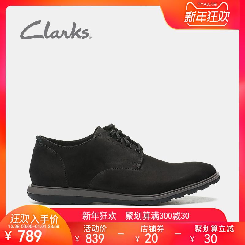 clarks其乐2018新款正装德比鞋Glaston Walk商务休闲鞋头层牛皮鞋