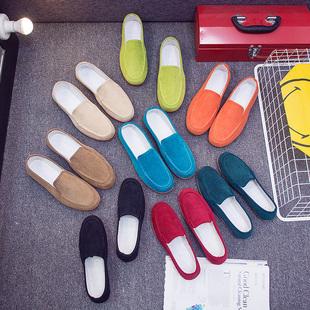 老北京布鞋女2018春季新款平跟休闲鞋女百搭帆布软底一脚蹬女鞋子