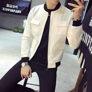 春装多口袋装饰夹克男韩版修身潮流青年帅气社会精神小伙休闲外套