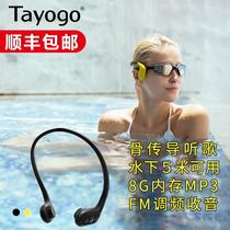 Tayogo W01骨传导游泳蓝牙耳机头戴式水下使用专业防水游泳耳机跑步运动式mp3耳机FM调频收音机不入耳听歌