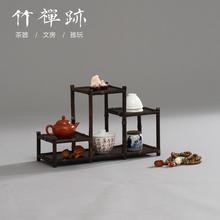 竹禅迹 饰古董架仿古多宝阁置物展示架 茶具多宝格竹博古架中式装