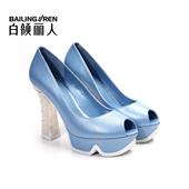 白领丽人春夏新款羊皮珍珠粗高跟鱼嘴舒适女单鞋6102U