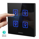 Selma touch switch household light intelligent switch black glass panel type 86 four open touch switch