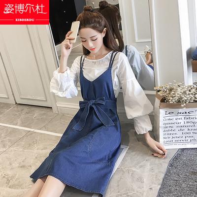 少女生夏秋装牛仔背带裙2018新款初中学生韩版中长款吊带连衣裙子