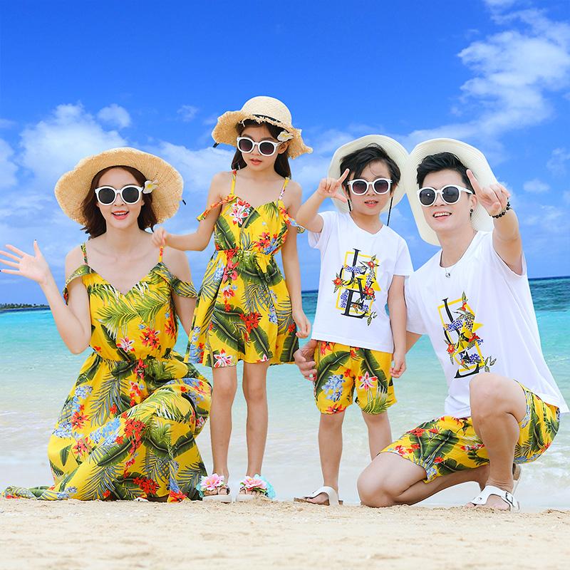 海边亲子装夏装沙滩装母女连衣裙全家装