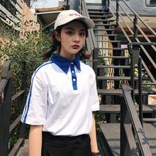 夏装韩版复古学院风宽松POLO领拼色短袖T恤学生男女班服百搭上衣