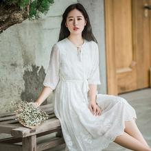 夏季文艺学生小个子森系清新雪纺白色绣花中长短袖连衣裙甜美仙女