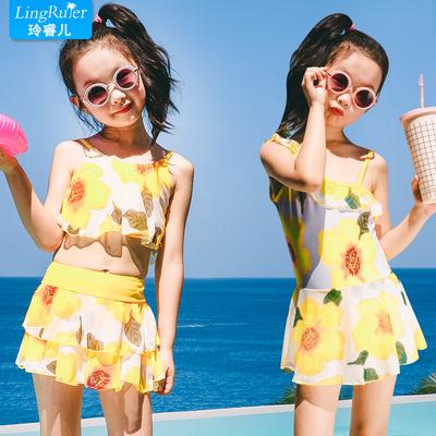 韩版儿童泳衣女童保守游泳衣分体裙式中大童泳装平角宝宝亲子泳衣
