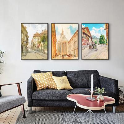 现代复古客厅壁画餐厅挂画北欧沙发装饰画风景油画欧式风情建筑图片