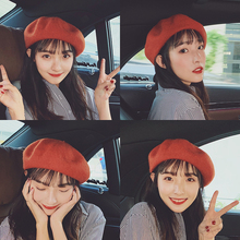 Japanese autumn and winter net red wild wool beret Korean female tide British 蓓 画家 painter hat winter ins