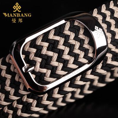 曼邦松紧皮带针扣商务男士时尚编织弹力腰带休闲百帆布裤带搭铜扣
