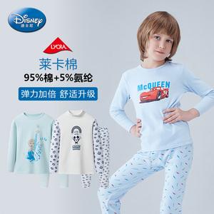 迪士尼 儿童保暖内衣套装莱卡棉 男