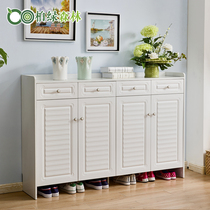 White shoe Cabinet simple modern Xuan closed hall cabinet balcony living room partition home shoe cabinet large locker solid wood
